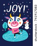 card with a cute cow on a dark... | Shutterstock .eps vector #741917083