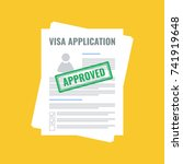 approved visa application  flat ... | Shutterstock .eps vector #741919648