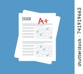 exam sheet with a plus grade ... | Shutterstock .eps vector #741919663