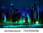 night city background  with... | Shutterstock .eps vector #741920458