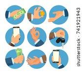 businessman hands set .... | Shutterstock . vector #741921943