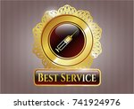 gold shiny emblem with syringe ... | Shutterstock .eps vector #741924976