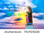 greeting card  statue of the... | Shutterstock . vector #741925630