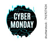 cyber monday icon in distorted... | Shutterstock .eps vector #741927424