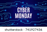cyber monday on tech blue... | Shutterstock .eps vector #741927436