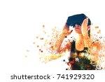 a person in virtual glasses...   Shutterstock . vector #741929320