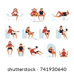 various people sitting in... | Shutterstock .eps vector #741930640