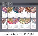 calendar 2018. vintage... | Shutterstock .eps vector #741931030