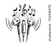 mobile headphones doodle... | Shutterstock .eps vector #741940570