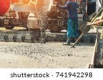 pouring cement during upgrade... | Shutterstock . vector #741942298