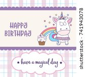 happy birthday card  with... | Shutterstock .eps vector #741943078