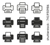 printer vector icons set. black ... | Shutterstock .eps vector #741950986