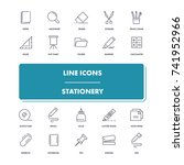line icons set. stationery pack....