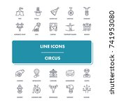 line icons set. circus pack....