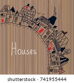 houses in the town   background ... | Shutterstock .eps vector #741955444