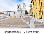 view of the spanish steps on... | Shutterstock . vector #741955984