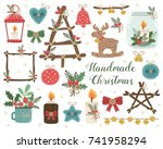 vector set of handmade craft... | Shutterstock .eps vector #741958294