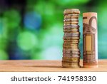 fifty euro rolled bill banknote ... | Shutterstock . vector #741958330
