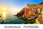 riomaggiore village along the...   Shutterstock . vector #741960286