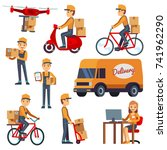 cute cartoon courier characters ... | Shutterstock .eps vector #741962290