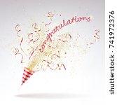 congratulatory of party popper... | Shutterstock .eps vector #741972376