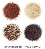 Stock photo black red and white quinoa grains isolated on white background healthy food 741972940