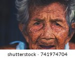 depress and helpless elderly... | Shutterstock . vector #741974704