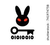 Stock vector bad rabbit ransomware virus vector illustration dangerous cryptographer icon evil rabbit with 741974758