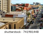 Small photo of Adelaide, Australia - August 27, 2017: Rundle street top view looking towards west in Adelaide city centre on a day