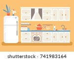 kitchen with furniture. cozy... | Shutterstock .eps vector #741983164