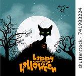 horror cat for halloween... | Shutterstock .eps vector #741983224