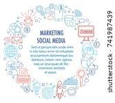 social media marketing circle... | Shutterstock .eps vector #741987439