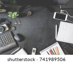 top view of graphic designer... | Shutterstock . vector #741989506