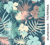 seamless exotic pattern with... | Shutterstock .eps vector #741989866