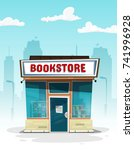 cartoon bookstore. front view.... | Shutterstock .eps vector #741996928