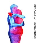 red  blue man  woman couple... | Shutterstock . vector #741997930