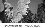 wings of angel of death as a... | Shutterstock . vector #742004608