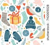 winter vector seamless pattern... | Shutterstock .eps vector #742005028