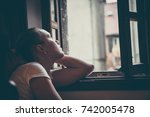lonely pensive women with... | Shutterstock . vector #742005478