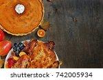 thanksgiving background. turkey ... | Shutterstock . vector #742005934