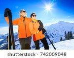 senior couple skiing | Shutterstock . vector #742009048