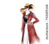 woman in coat. fashion... | Shutterstock . vector #742009168
