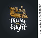 merry and bright lettering on... | Shutterstock .eps vector #742010500