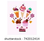 variation of cake  ice cram ... | Shutterstock .eps vector #742012414