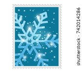 Postal stamp with blue snowflake. Vector 3d illustration