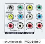 colorful jack channel of dvd... | Shutterstock . vector #742014850