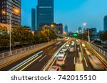 traffic trails in downtown... | Shutterstock . vector #742015510