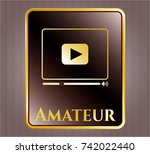 golden emblem with video... | Shutterstock .eps vector #742022440