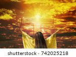 thank you god  women back or... | Shutterstock . vector #742025218