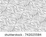 vector seamless black and white ... | Shutterstock .eps vector #742025584